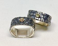 Square Basket Weave Ring by Linda Bernasconi (Gold, Silver & Stone Ring)