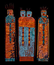 Fire Keepers: Lovers Trio by Kara Young (Mixed-Media Wall Sculpture)
