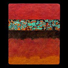 Canyon Walls: Rose M+ Triptych by Kara Young (Mixed-Media Wall Hanging)