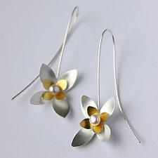Silver & Gold Succulent Drops by Katie Carder (Gold, Silver & Pearl Earrings)