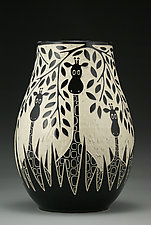 Giraffes In The Wild by Jennifer  Falter (Ceramic Vase)
