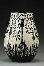 Giraffes In The Wild by Jennifer  Falter (Ceramic Vase)