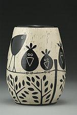 Birds on a Wire by Jennifer  Falter (Ceramic Vase)
