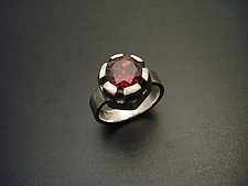 Fortress Ring with Garnet by Tavia Brown (Silver & Stone Ring)