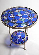 Blue Art Glass Table by Varda Avnisan (Art Glass Side Table)