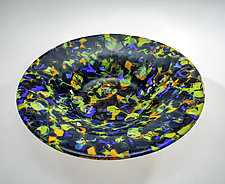 Blue and Green Lava Bowl by Varda Avnisan (Art Glass Bowl)