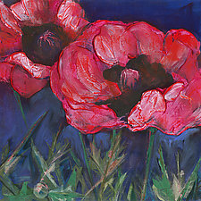 Red Poppies Dark Sky by Denise Souza Finney (Giclee Print)