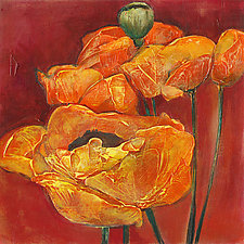 Orange on Red Poppies by Denise Souza Finney (Giclee Print)