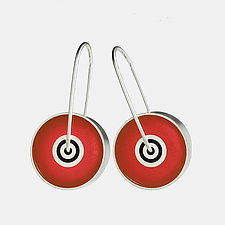 Red Lollipop Earrings by Victoria Varga (Silver & Resin Earrings)