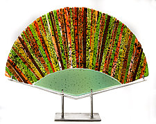 Bamboo Forest Art Glass Fan Sculpture by Varda Avnisan (Art Glass Sculpture)