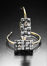 Woven Rectangle Hoops by Linda Bernasconi (Gold, Silver & Stone Earrings)
