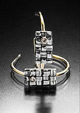 Woven Rectangle Hoops by Linda Bernasconi (Gold, Silver & Stone Earrings)