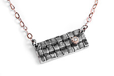 Woven Bar Necklace by Linda Bernasconi (Silver & Gold Necklace)
