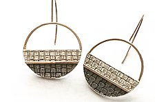 Stripey Mod Earrings by Linda Bernasconi (Gold & Silver Earrings)