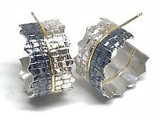Ruffled Woven Earrings by Linda Bernasconi (Gold & Silver Earrings)