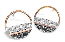 Small Stripey Mod Earrings by Linda Bernasconi (Gold & Silver Earrings)