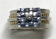 Woven Square Stack I by Linda Bernasconi (Gold, Silver & Stone Ring)