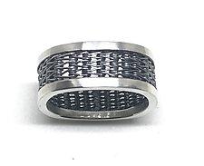 Men's Herringbone Woven Square Ring by Linda Bernasconi (Silver Ring)