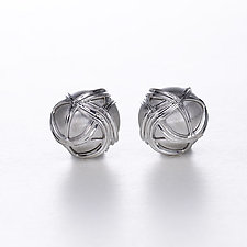 Silver Paja Swirl Dome Earrings by Ellen Himic (Silver Earrings)