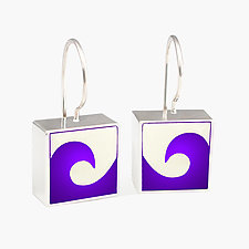 Square Wave Charm Earrings by Victoria Varga (Silver & Resin Earrings)