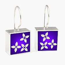 Square Purple Clover Earrings by Victoria Varga (Silver & Resin Earrings)