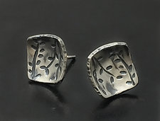 Echoes Square Studs by Tavia Brown (Silver Earrings)