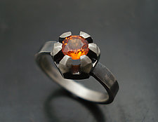 Fortress Ring with Orange Sapphire by Tavia Brown (Silver & Stone Ring)