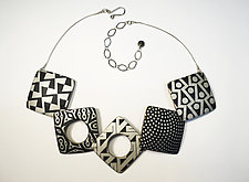 Square Necklace Black and Ivory by Louise Fischer Cozzi (Polymer Clay Necklace)