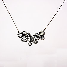 Black and Ivory Asymmetrical Necklace by Louise Fischer Cozzi (Polymer Clay Necklace)