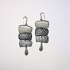 3 Horizontal Map Chains by Louise Fischer Cozzi (Polymer Clay Earrings)