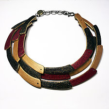 Tri Crescent Necklace in Metallics by Louise Fischer Cozzi (Polymer Clay Necklace)