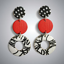 Tiered Lifesaver Earrings by Louise Fischer Cozzi (Polymer Clay Earrings)