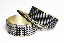 Black and Ivory Bangle Bracelets by Louise Fischer Cozzi (Polymer Clay Bracelets)