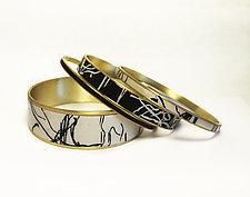 Organic Black & Ivory Bangle Bracelets by Louise Fischer Cozzi (Polymer Clay Bracelets)