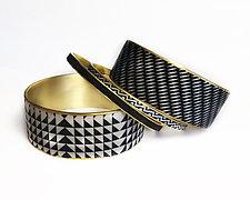 Black and Ivory Bangle Bracelets by Louise Fischer Cozzi (Polymer Clay Bracelets)