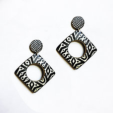 Wholey Square Earrings by Louise Fischer Cozzi (Polymer Clay Earrings)