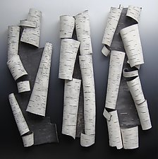 Found Furls in White by Lenore Lampi (Ceramic Wall Sculpture)