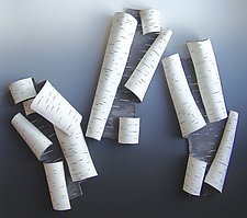 White Scrolls by Lenore Lampi (Ceramic Wall Sculpture)