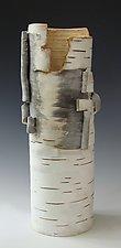 Birch Motif Vase 19 by Lenore Lampi (Ceramic Vase)