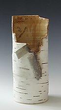 Birch Motif Vase 22 by Lenore Lampi (Ceramic Vase)