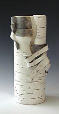Birch Motif Vase 23 by Lenore Lampi (Ceramic Vase)
