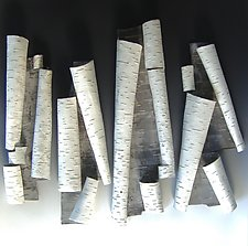 Scrolls in White II by Lenore Lampi (Ceramic Wall Sculpture)
