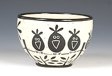 Birds on a Wire Bowl by Jennifer  Falter (Ceramic Bowl)