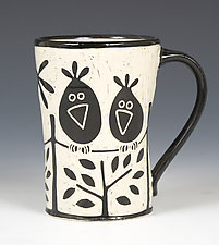 Birds on a Wire Mug by Jennifer  Falter (Ceramic Mug)