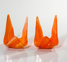 Orange Candle Holders by Varda Avnisan (Art Glass Candleholders)