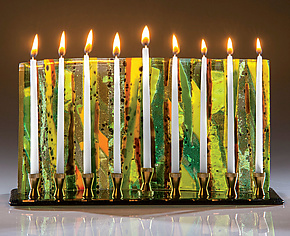 Green Forest Menorah by Varda Avnisan (Art Glass Menorah)