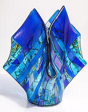 Blue Vase by Varda Avnisan (Art Glass Vase)