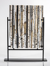 Birch Forest in Winter II by Varda Avnisan (Art Glass Sculpture)