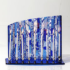 Blue and White Forest Menorah by Varda Avnisan (Art Glass Menorah)