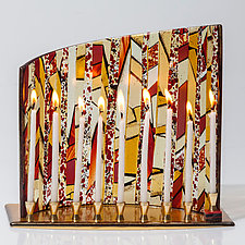 Amber Striped Menorah by Varda Avnisan (Art Glass Menorah)